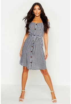Womens Gingham Midi Button Front Shift Dress