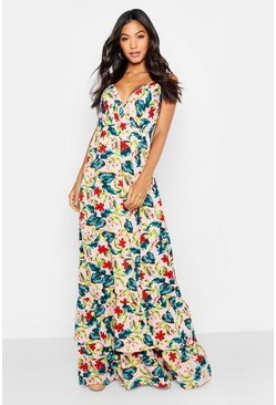 Womens Blush Tropical Floral Ruffle Hem Maxi Dress