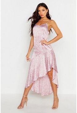 Blush Ruffle Hem Printed Satin Midaxi Slip Dress