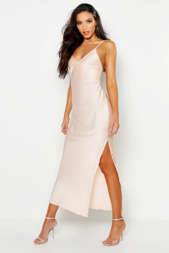 Satin Side Split Maxi Slip Dress