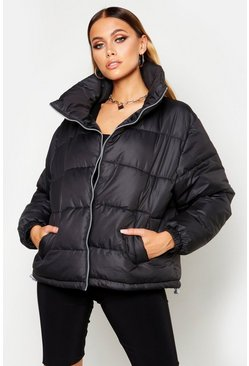 Womens Black Funnel Neck Puffer Jacket