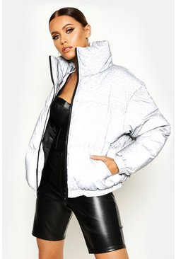 Womens Grey Reflective Leopard Puffer Jacket