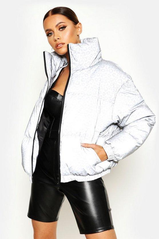 Reflective Leopard Puffer Jacket