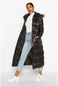 Dam Black Maxi Cire Panelled Padded Jacket With Faux Fur Trim