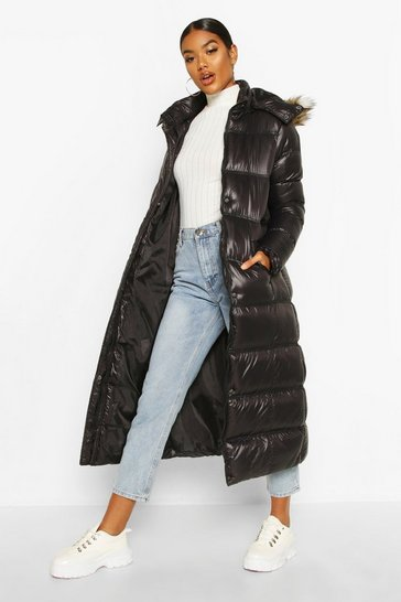 Womens Black Maxi Cire Panelled Padded Jacket With Faux Fur Trim