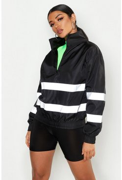 Womens Black Overhead Reflective Windbreaker