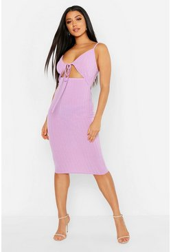 Rib Tie Front Midi Dress, Lilac, Donna