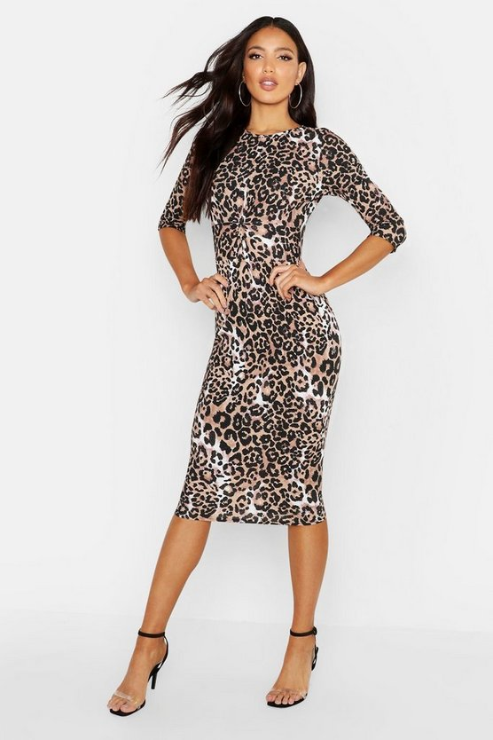 Womens Natural Rib Leopard Tie Side Midi Dress