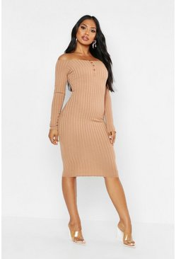 Womens Camel Rib Bardot Button Detail Midi Dress