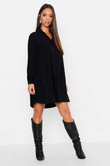 Womens Black Woven Shirt Shift Dress