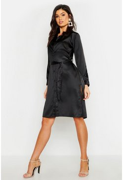 Dam Black Satin Belted Split Shirt Dress