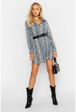 Womens Cornflower blue Woven Snake Print Shirt Shift Dress