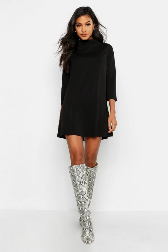 Womens Black Funnel Neck Shift Dress