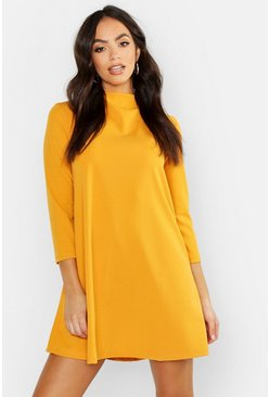 Womens Mustard Funnel Neck Shift Dress