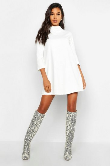 Womens White Funnel Neck Shift Dress