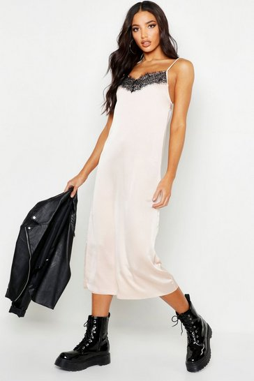 Womens Soft pink Woven Lace Midi Slip Dress