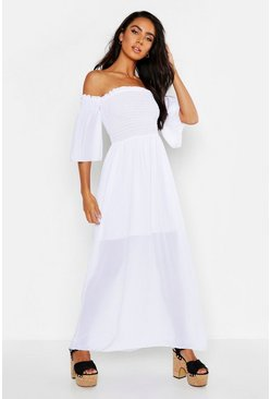 Womens White Woven Shirred Bardot Maxi Dress