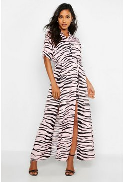 Womens Pink Woven Zebra Maxi Shirt Split Dress
