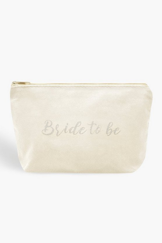 Womens White Bride To Be Makeup Bag