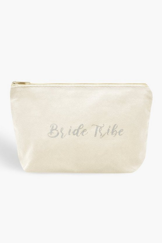 Womens White Bride Tribe Makeup Bag