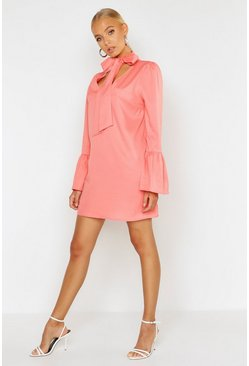 Womens Coral Woven Tie Neck Shift Dress
