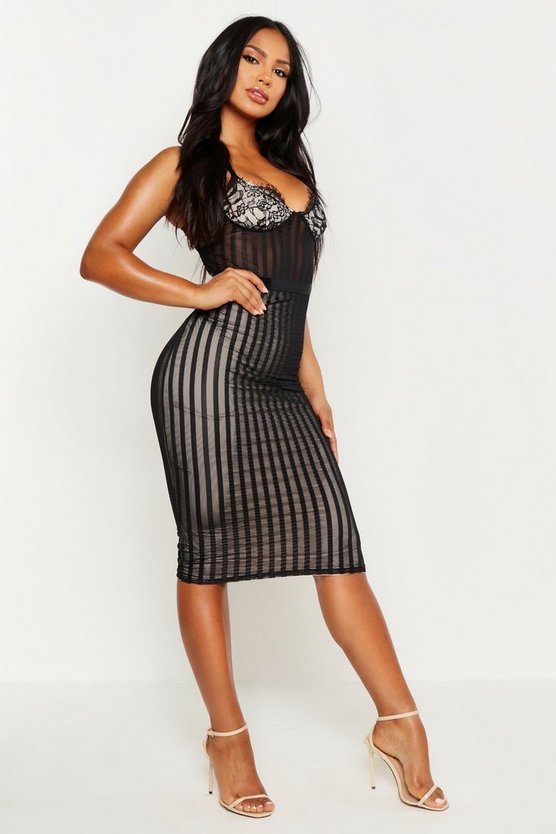 Womens Black Lace Cup Striped Mesh Midi Bodycon Dress