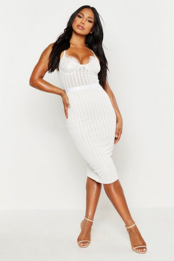 Womens White Lace Cup Striped Mesh Midi Bodycon Dress