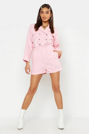 Womens Pink Pastel Utility Pocket Woven Playsuit