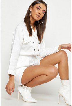 Womens White Pastel Utility Pocket Woven Playsuit