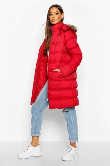 dbda7ca7e Longline Faux Fur Trim Puffer Jacket