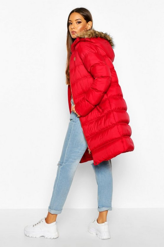 Longline Faux Fur Trim Puffer Jacket