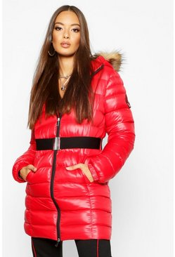 Womens Red Cire Longline Belted Parka