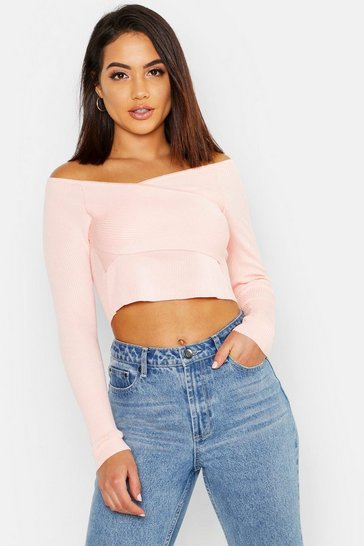 Womens Blush Crop Rib Knit Wrap Jumper