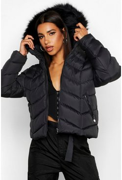 Womens Black Faux Fur Trim Chevron Quilted Jacket