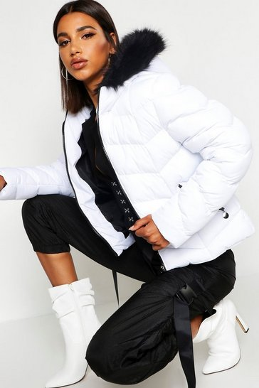 Womens White Faux Fur Trim Chevron Quilted Jacket