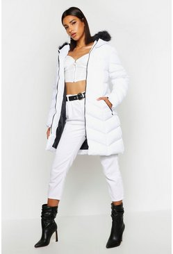 White Faux Fur Hooded Panelled Parka