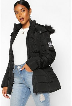 Black Faux Fur Hooded Belted Parka