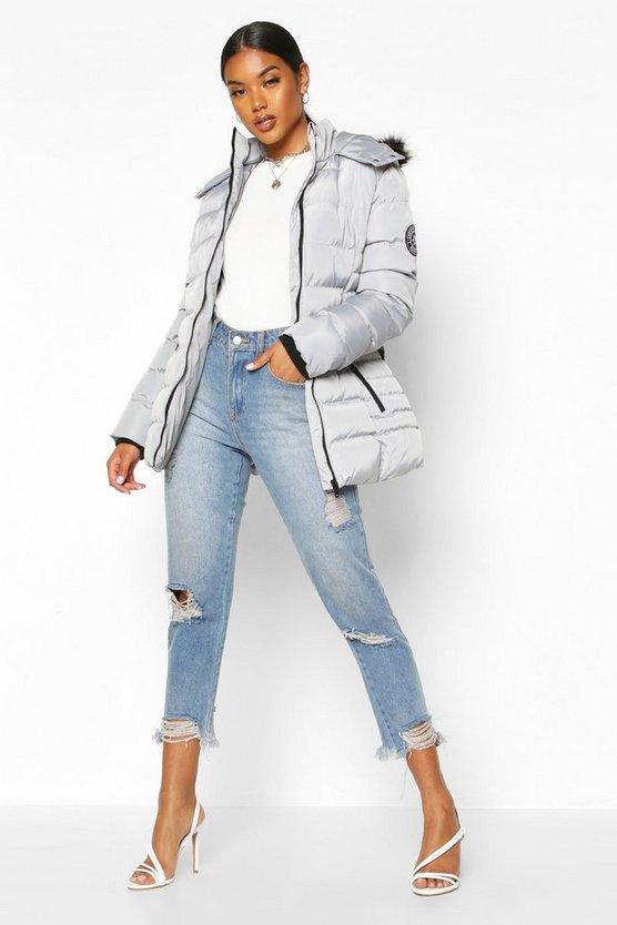 Faux Fur Hooded Belted Parka