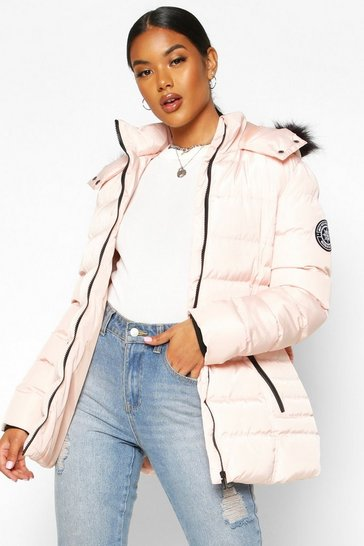 Womens Pink Faux Fur Hooded Belted Parka
