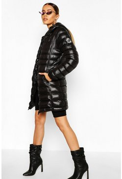 Black Hooded High Shine Padded Jacket
