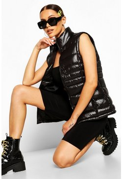 Womens Black High Shine Padded Funnel Neck Gilet