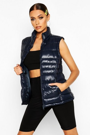 Womens Navy High Shine Padded Funnel Neck Gilet