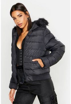 Womens Black Faux Fur Hooded Puffer Jacket