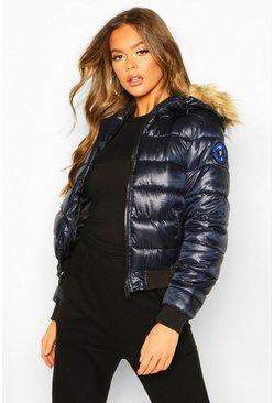 Womens Navy Faux Fur Hooded Puffer Jacket