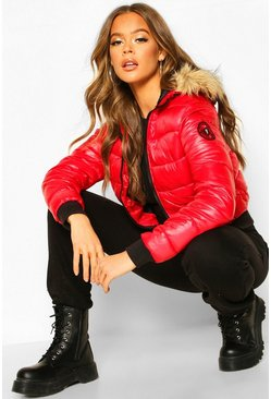 Faux Fur Hooded Puffer Jacket, Red, Donna