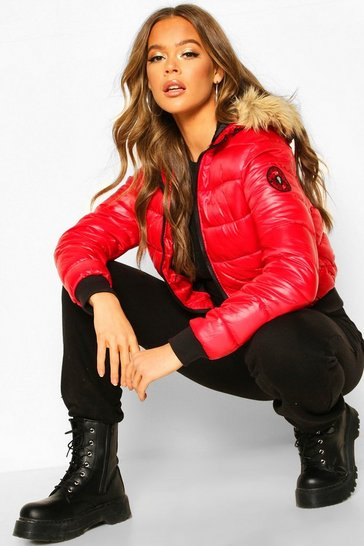 Womens Red Faux Fur Hooded Puffer Jacket