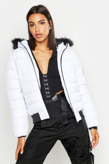Womens White Faux Fur Hooded Puffer Jacket