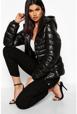 Hooded Cire Panelled Jacket, Black, Donna