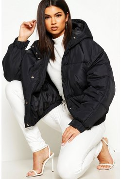 Womens Black Oversized Raglan Puffer Jacket