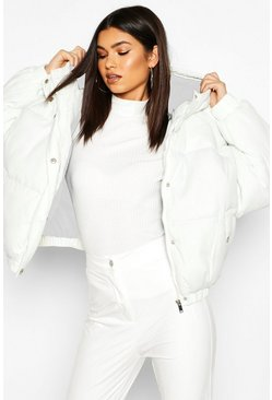 Womens Cream Oversized Raglan Puffer Jacket